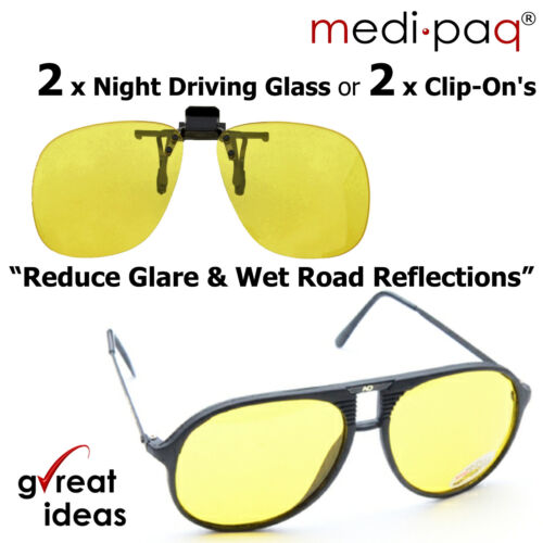 DRIVING GLASSES & Clip-On Night Vision Driver Safety *NO Glare or DAZZLE Sun