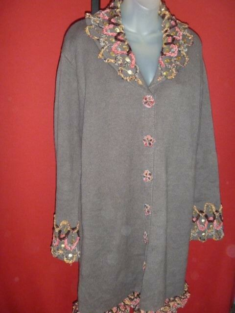 STORYBOOK KNITS  Geometric Ombre  Brown Sweater coat Sz Lgold leaves