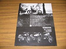 1969 Print Ad Yamaha 250 & 125 Single Enduro Motorcycles 80 & 100 Trailmaster