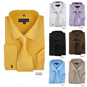 Men 39 s french cuff solid color dress shirt matching tie for Mens shirts with matching ties
