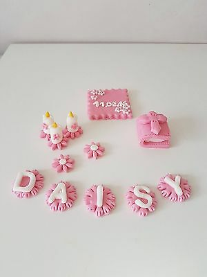 Christening Girl edible cake toppers decoration