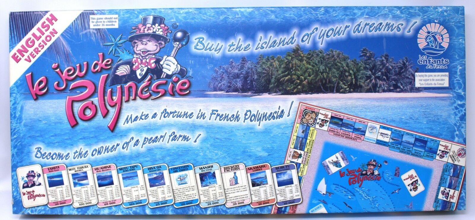 Le Jeu de Polynesie Tahitian Monopoly Style Board Game English Version VHF Rare