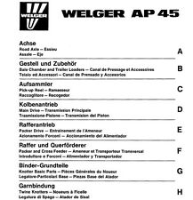 Welger AP45 Baler Parts Manual (PDF file) SPARE PARTS LIST CATALOGUE