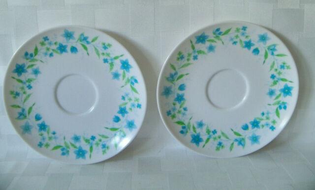 Vintage Blue and White Floral melamine  Saucer 8 Set
