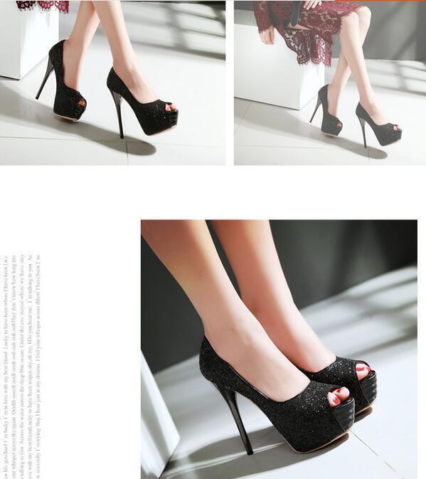 Stilett Schuhe Pumps elegant Frau Stift plateau 13.5 schwarz schwarz schwarz strass 8552 d24294