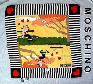 Vintage-MOSCHINO-Olive-Oyl-SILK-SCARF-Made-in-ITALY-2003-19-5-034-x-19-5-034