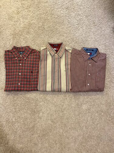 Lot Of Three (3) Men Button Up Shirts Medium Polo