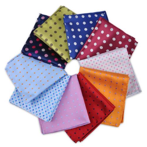 "9.8x9.8/"" Men Dot Pocket Square Jacquard Handkerchief Polka Gift Wedding Party"