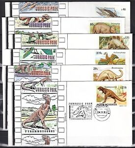 Romania, 02-07/NOV/93. Dinosaur (3845-3850) Cancels on Cachet Covers.