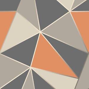 Sommet Papier Peint Geometrique Orange Brule Gris Decor Fin