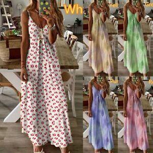 Womens-Summer-Floral-Long-Dress-Ladies-Boho-Beach-Holiday-Maxi-Dress-Size-6-22