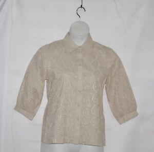 Linea-by-Louis-Dell-039-Olio-Cotton-Paisley-Eyelet-Blouse-Size-XL-Natural