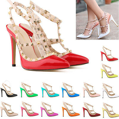 WOMENS LADIES HIGH STILETTO HEEL ANKLE STRAP PARTY WEDDING COURT SHOES SIZE 2-9