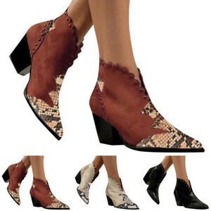 Womens Ankle Boots Block Mid High Heel