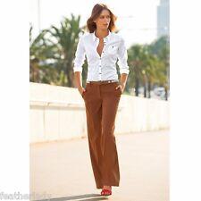 La redoute ELLOS brown WIDE LEG pleated work office trousers 32L UK 4 EU 32 NEW