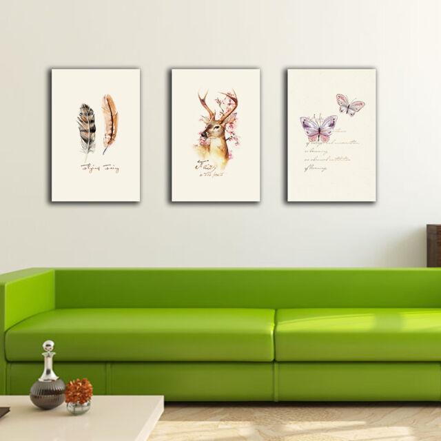 3 30??45??3cm Deer Butterfly Canvas Prints Framed Wall Art Home Decor Gift