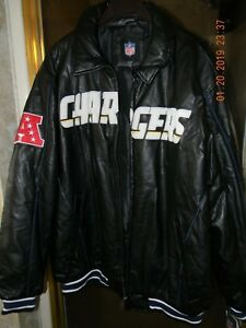 reputable site 3c5cd ec3ef Details about NFL Los Angeles Chargers Men's XXL Embroidered Authentic  Leather Jacket