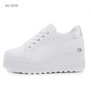 fa8297896b1327 Caricamento dell'immagine in corso B358-Scarpe-Da-Donna-Ginnastica-Sportive- Sneaker-Zeppa-