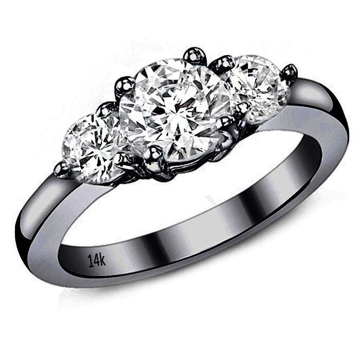 0.83CT Women's Unique Round Cut Moissanite 14K BG Three Stone Engagement Ring