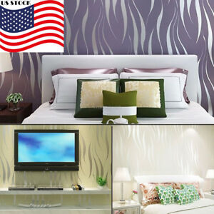 Image Is Loading US 3D Stripe Wave Wall Paper Roll Wallpaper