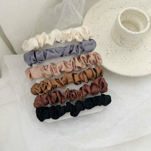 6Pcs//set Elastic Hair Bands Silk Satin Scrunchie Hair Ties Ponytail Holder Ropes