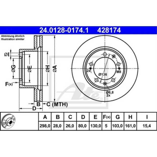 ATE 2x Disques de Frein Ventilé Recouvert 24.0128-0174.1