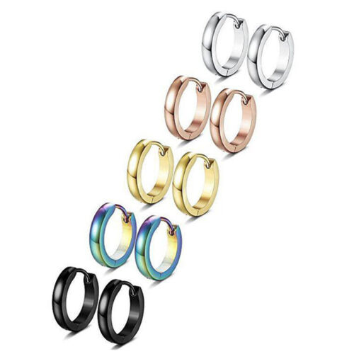 Stainless Steel Punk Hoop Earrings Cuff Wrap Ear Stud Clip Earrings Lady  I