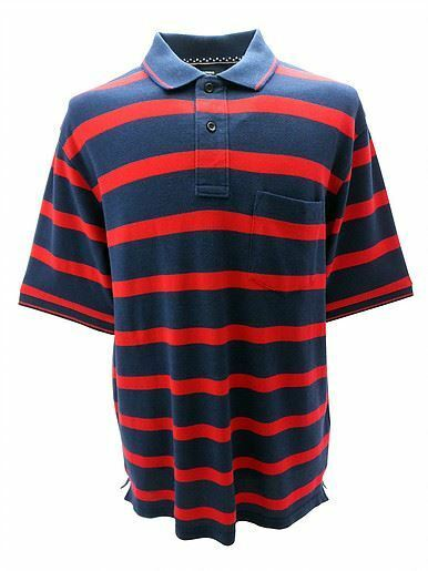 Louie James Cotton Rich Pique Polo Shirt in Red Navy in size 2XL to 6XL