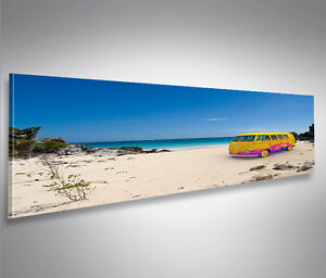 strand bulli vw t1 panorama format bild auf leinwand. Black Bedroom Furniture Sets. Home Design Ideas