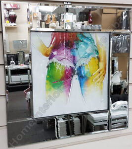 Multi-coloured-lady-039-s-bum-amp-hands-with-liquid-art-amp-mirror-frame-pictures
