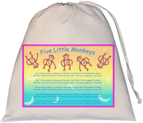 Five Little Monkeys - Teaching Resource Sack Nursery Rhyme Bag  SUPPLIED EMPTY 5