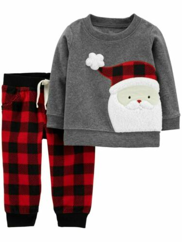 Carter/'s Just One You Baby Boy/'s Plaid Santa Claus Christmas 2 Pc 3Mo-12Mo