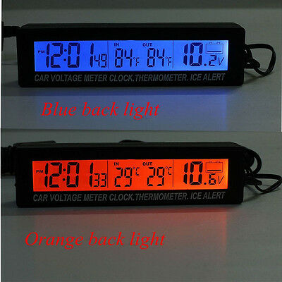 Auto Car In-Outdoor Thermometer W/Sensor For Automotive A/C Digital LCD Display