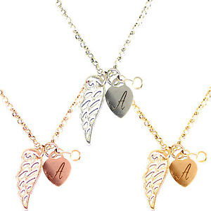 Personalised Name Necklace Rose Gold Plated Guardian Angel Wing Heart Pendant FREE ENGRAVING Letter Or Initial oVmWb8DS
