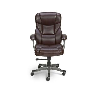 Staples Osgood Bonded Leather High-Back Manager's Chair Brown 416523