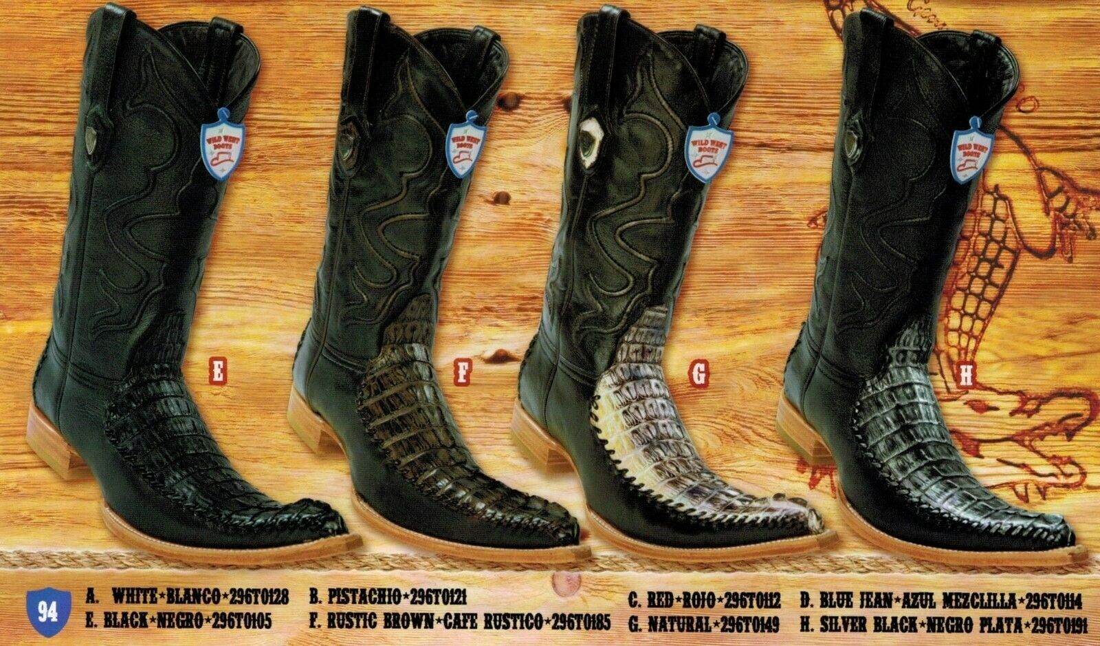Wild West Men's 6X-Toe Caiman Tail Deer Cowboy Western stivali Different Coloreeees