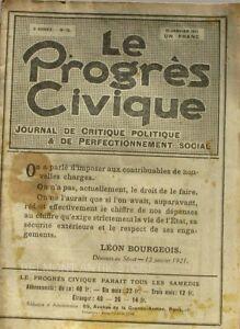 Le Progrès Civique N°75 1921 - Journal De Critique Politique - Henri Dumay Rare Les Produits Sont Disponibles Sans Restriction