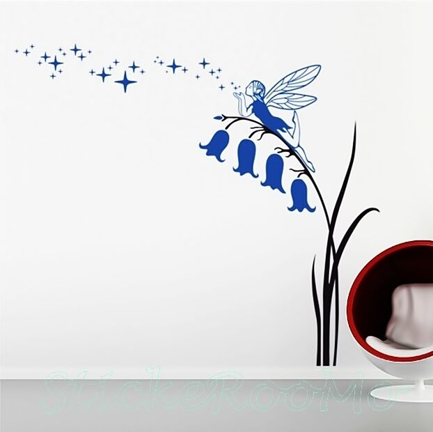 FLOWERS FAIRY BLUE STAR PLAYROOM WALL ART STICKERS MURALS HOME ROOM DECORATION