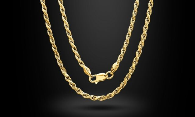 Regal Jewelry Hollow Diamond Cut Unisex Rope Chain - Gold - Size: 18""