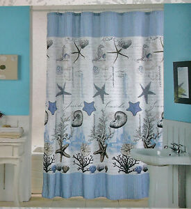 Image Is Loading SEASIDE SHOWER CURTAIN With HOOKS OCEAN DESIGN WHITE