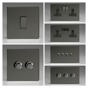 Varilight Screwless Iridium Black Polished Light Switch Socket Dimmer Toggle Ebay