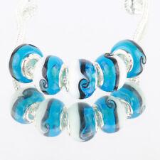 Blue ocean 5pcs MURANO glass bead LAMPWORK fit European Charm Bracelet