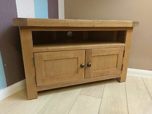 Kingsford Solid Oak Corner Tv Unit Stand Cabinet Plasma 100cm