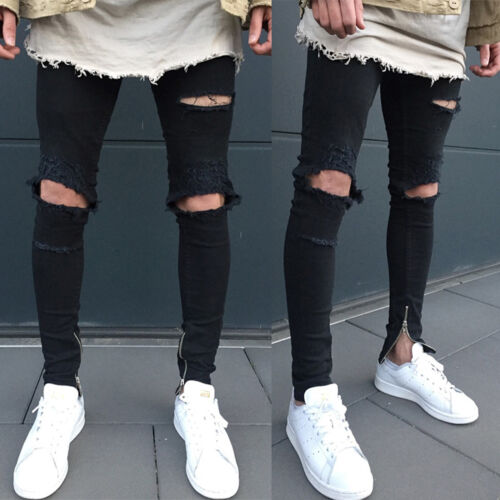 Herren Jeanshose Jeans Skinny Stretch Biker Destroyed Freizeit Herrenhose Denim