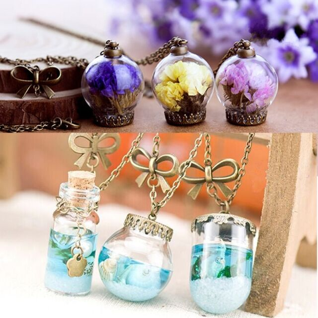 Fashion Ocean Sea Glass Bottle Pendant Mermaid Tears Vial Necklace Shells Star