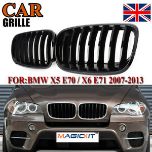 Pair For BMW X5 X6 E70 E71 07-13 Painted Glossy Black Front Grille Grill Kidney