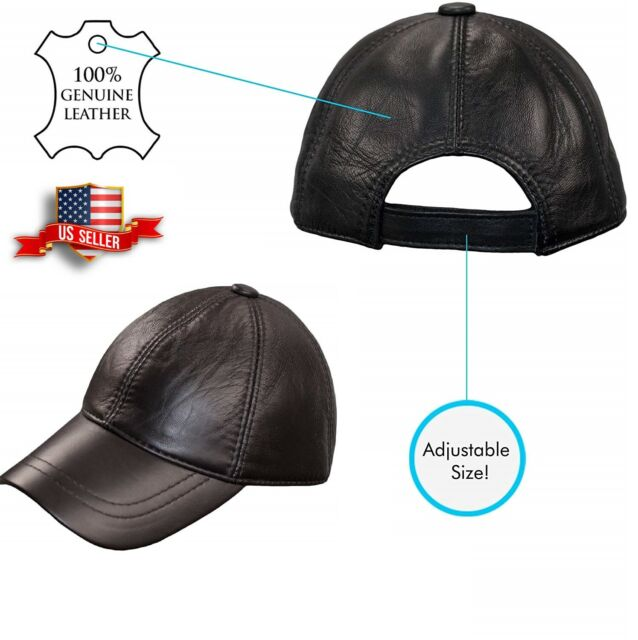 Genuine Leather Adjustable Solid USA Baseball Cap Hat Distressed Suede Leather