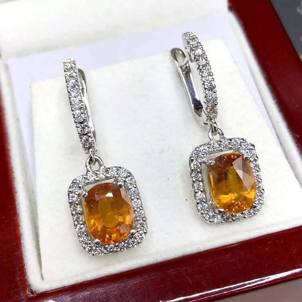 DANGLING  6.22TCW Yellow Sapphire Diamond 18K solid white gold earrings Natural