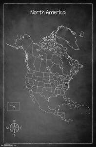 CHALK MAP OF NORTH AMERICA POSTER - 22x34 - GEOGRAPHY UNITED STATES ...