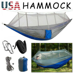 Camping Double Hammock With Mosquito Net Tent Tarp Hanging Swing Hammock Bed US